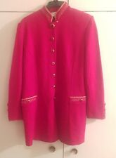 St. John AUTH.  women's red w/gold leaf trim & embellish buttoned  jacket Sz 8