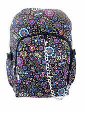 SUGAR SKULL Flower Blue Backpack Rucksack School College Goth Emo Rock Punk Bag