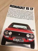 Renault 15 17 R15 R17 ( + 17 gordini ) catalogue prospectus brochure dépliant