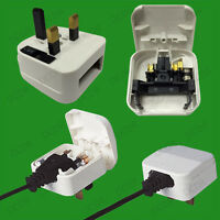 White, 2 Pin Euro to 5A UK 3 Pin Mains Fused Plug Converter Travel Adaptor