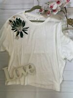 HM Anna Glover M 16 18 white embroidered beaded casual t shirt loose top VGC