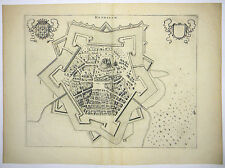 HESDIN NORD-PAS-DE-CALAIS FRANKREICH KUPFERSTICH ANSICHT BLAEU 1649 AD #D906S