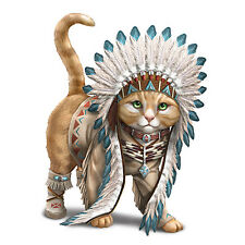 Chief Runs With Paws Cat Animal Native Figurine Bradford Exchange