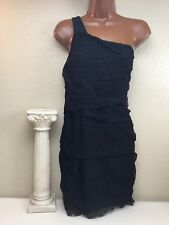 $196 Central Park West Mini Little Black Dress Lace Wrap One Shoulder Sz Medium