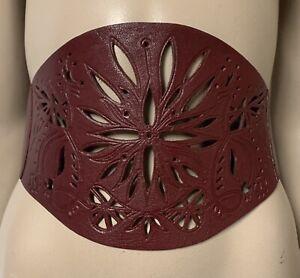 Warehouse dark plum leather look unique wide waist belt size L