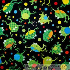 BonEful Fabric FQ Cotton Quilt Black GREEN Red Blue FROG Dot Bubble Beach Boy Sm