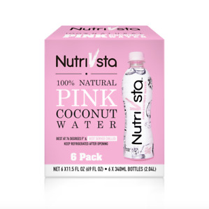 NutriVsta Pink Coconut Water_(340ml) 6 Pack, Rehydrates & 100% Natural Drink