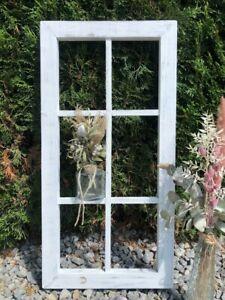 Deko Fenster Holz Rahmen Sprossen Garten Wohnen 80x40 weiss Shabby Chic