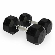 Hex Dumbbells Rubber Encased Solid Weights Sets Hexagonal Hexa Dumbbell Set Gym