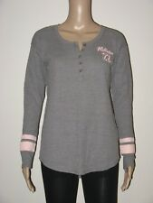 Abercrombie & Fitch Hollister T-Shirt Women's Logo Thermal Henley Tee M Grey NWT