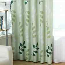 Blockout Eyelet Curtain Country Style Green Leaves Kids Room 300cm x 230cm