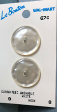 VINTAGE Le Bouton White Pearlescent Buttons on original CARD (3 Buttons)