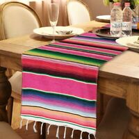 Mexican Serape Table Runner Fringe Cotton Tablecloth Fiesta Party Birthday Decor