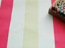 Heavy Cotton Canvas Upholstery Fabric PINK WHITE STRIPES by HALF METRE #62