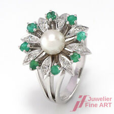 Ring - 14K/585 WG - 8 Smaragde + Diamanten Achtkant ca. 0,16 ct W/SI - Gr. 58