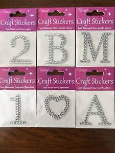Diamanté  Stickers 5cm - Letters Numbers Hearts Shapes - 99p For 2 Or More