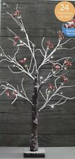 NEW CHRISTMAS TABLE TOP BERRY TREE 70CM HEIGHT NATURAL SNOWY FINISH 24 LED LIGHT