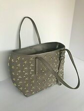 JIMMY CHOO GRAY GOLD STAR STUDDED HANDBAG