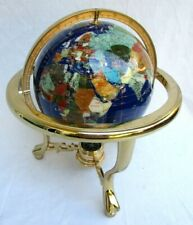 "SEMI PRECIOUS STONE INLAID..13"" WORLD GLOBE..BRASS STAND..COMPASS"