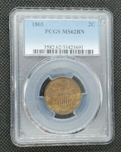 1865 2-Cent Piece | PCGS MS62BN | Hints of Red!