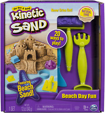Kinetic Sand Beach Day Fun Playset With Castle Molds And Tools Shovels, Rakes