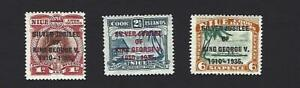 NIUE 1935 GEORGE V SILVER JUBILEE SET OF 3 STAMPS, SG. 69 - 71, MH