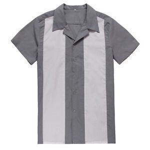 Mens Rockabilly Bowling Shirts Cotton Top Gray Casual Shirts Retro Design