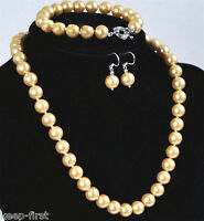 8mm Natural Yellow South Sea Shell Pearl Necklace bracelet Earrings Set AAA