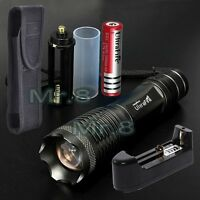 UltraFire LED 10000lm XM-L Flashlight Torch+18650 Battery+Charger+Holster