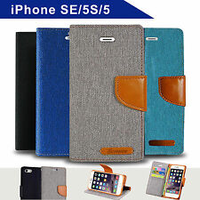 Denim Canvas Leather Wallet Case for Apple iPhone 5/5s Card Slots Cover
