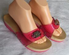 Scholl Ladies Pink Jelly Wedge Mules Exercise Sandals Size 6