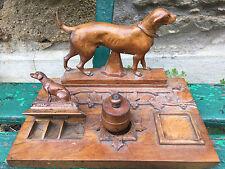 Necessaire de Bureau Boite à timbre encrier Chiens sculptés XIX