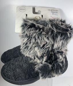 NEW Kooba Women's Boot Slippers Faux Fur Lining Medium Hard Bottom Knit Grey