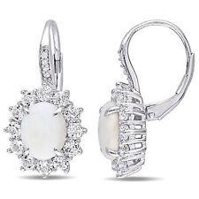 Sterling Silver Oval Opal & White Topaz Diamond Flower Dangle Leverback Earrings
