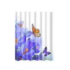 Waterproof Shower Curtain 12 Hooks Flower Butterfly Print Bathroom Polyester