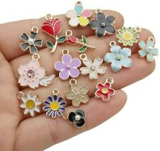 10 Enamel Gold Charms Mixed Pendants Findings Flower Floral Set Assorted Lot Mix