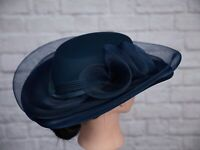 Vintage Hat Blue Pleated Satin 1980s Goodwood Navy Wedding C&A Riding 80s
