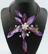 N080806 pearl leaf shell choker flower necklace