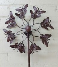 """Yard Butterfly 40"""" Bronze Wind Spinner With Crackle Glass Sphere Solar LED Light"""