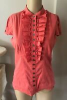 KAREN MILLEN Short Sleeve Coral Orange Cotton Mix Top Gorgeous UK 10