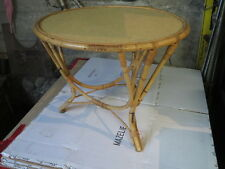 Ancienne petite table basse ronde en rotin vintage french antique table
