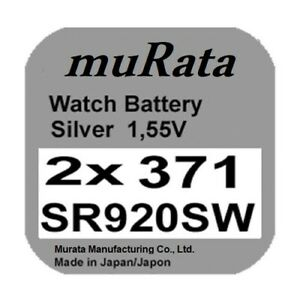 2x Murata/Sony 371 Uhren-Batterie Knopfzelle SR920SW SR920 AG6 Silberoxid Neu