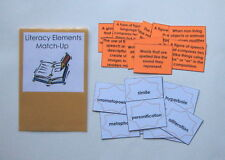 Teacher Made Literacy Center Learning Resource Game Literacy Elements Match-Up