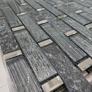 Linea Diamond Glass And Slate Mosaic Tiles Walls Floors Bathrooms Kitchens