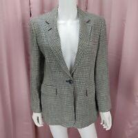 Lauren Ralph Lauren Petite Women's Linen Houndstooth Long Sleeve Blazer Size 12P