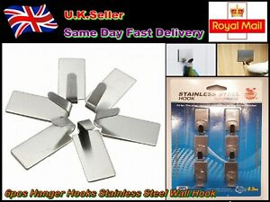 New Pack of 6 Hanger Hooks Stainless Steel Wall Hook Bathroom Kitchen Key Hat