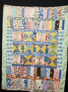 Vintage Antique Baby Crib Quilt 1940s ALL Feedsack Pinwheel & More 35x46' Estate
