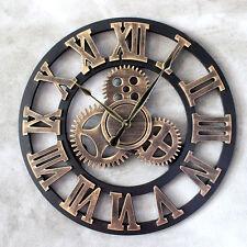 Vintage Wanduhr Holz Quarzuhr Römische Zahlen Uhr Zahnrad  Design φ45cm Golden
