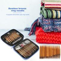 Interchangeable 13 Sizes Bamboo Needles Set Aluminum Circular Knitting Needles