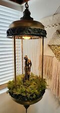 "Vintage BIG 36""x 14"" Oil Rain Hanging Lamp W/ Greek Goddess, Works Beautifully!!"